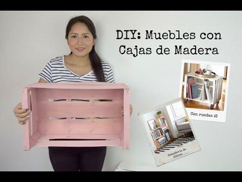 Muebles con cajas de madera diy quicha rocio youtube for Muebles con cajas de madera