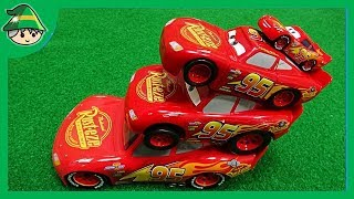 Disney Lightning McQueen. Build a car tower. Various size car toys.