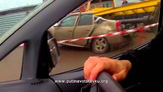 Кемерово: строительный кран упал на автомобиль 26.10.13(На