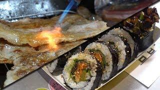 Korean food | Samgyeopsal Kimbap | BBQ Kimbap (Samgyeopsal Gimbap 삼겹살 김밥) | 강프로 Kang Pro TV