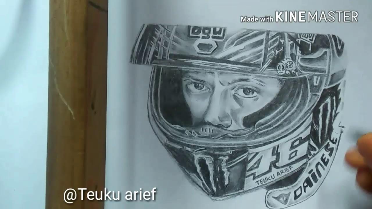 How To Draw Valentino Rossi With Pensil Bagaimana Menggambar Rossi