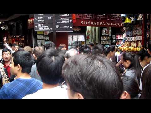 Walking through crowds in Shanghai