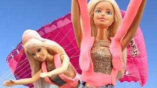 Барби прыгает с ПАРАШЮТОМ: Экстрим с Олесей и Барби для девочек