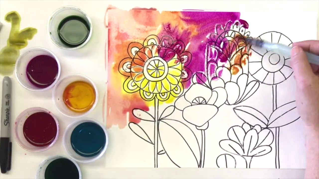 how to draw a flower garden watercolor resist flowers youtube