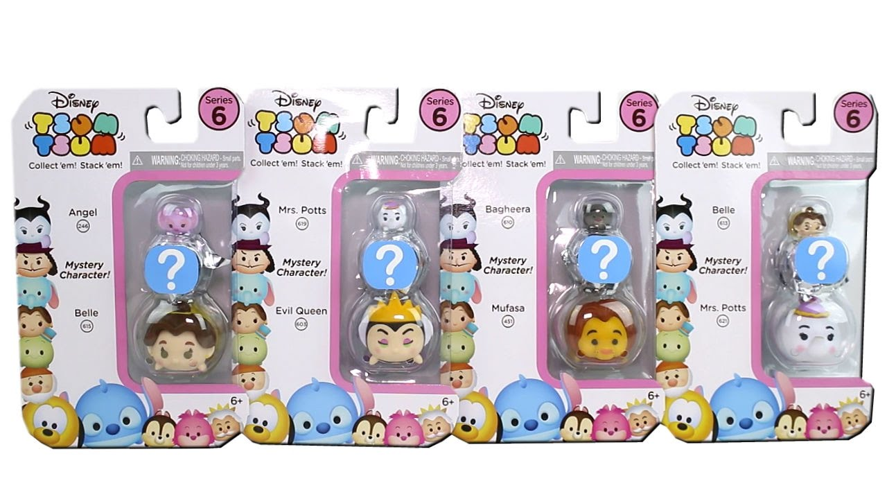 Disney Tsum Tsum Series 6 3-Pack Figures Belle//Mystery//Mrs Potts