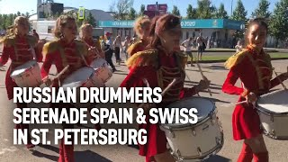 Russian girl marching band welcome Spanish & Swiss at EURO 2020