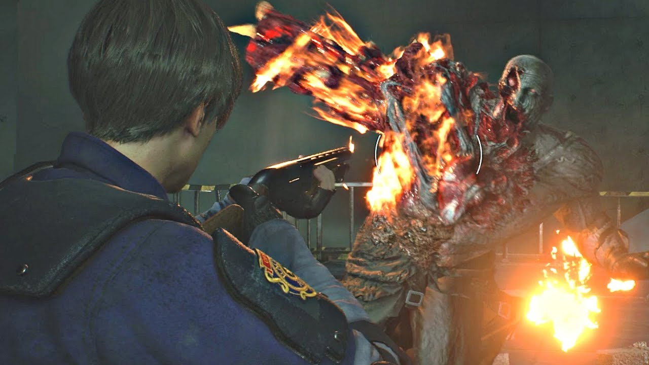 Resident Evil 2 Remake Tyrant Mr X Final Boss Fight Re2 Remake 2019 Ps4 Pro