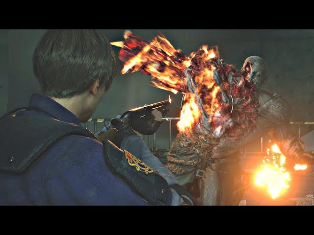 Resident Evil 2 Remake - Tyrant Mr. X Final Boss Fight (RE2 Remake 2019) PS4 Pro