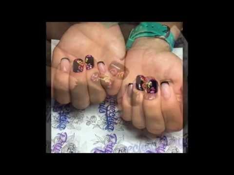 Дизайн ногтей! Неоновые вензеля!