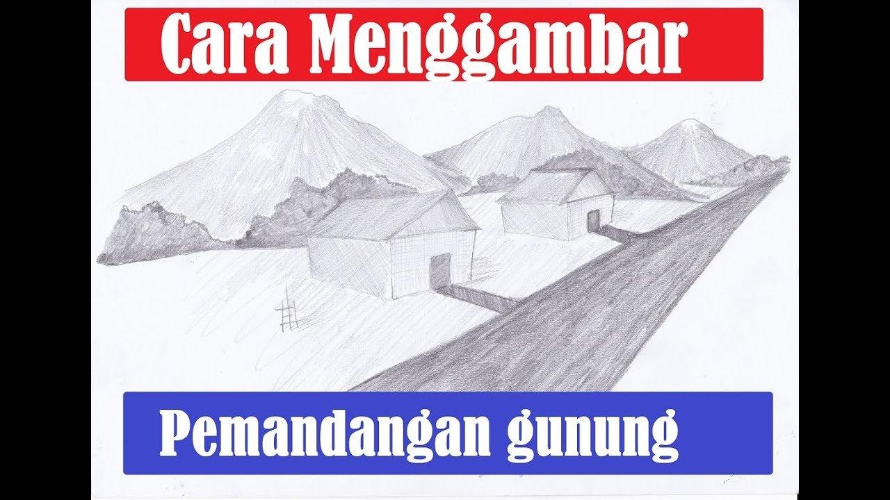 Cara Menggambar Sketsa Pemandangan Rumah Dan Pegunungan Dengan Pensil