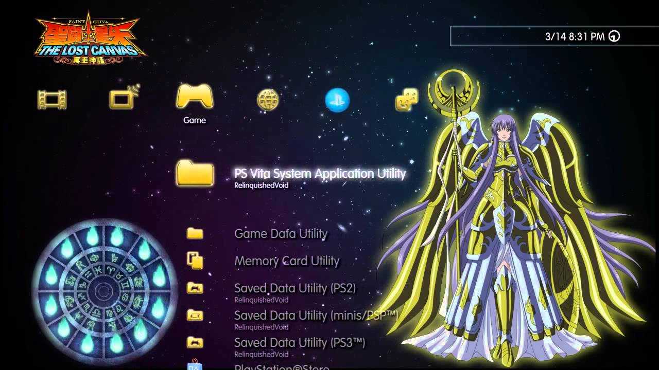Saint Seiya The Lost Canvas Sasha PS3 Dynamic Theme Preview HD, 720p