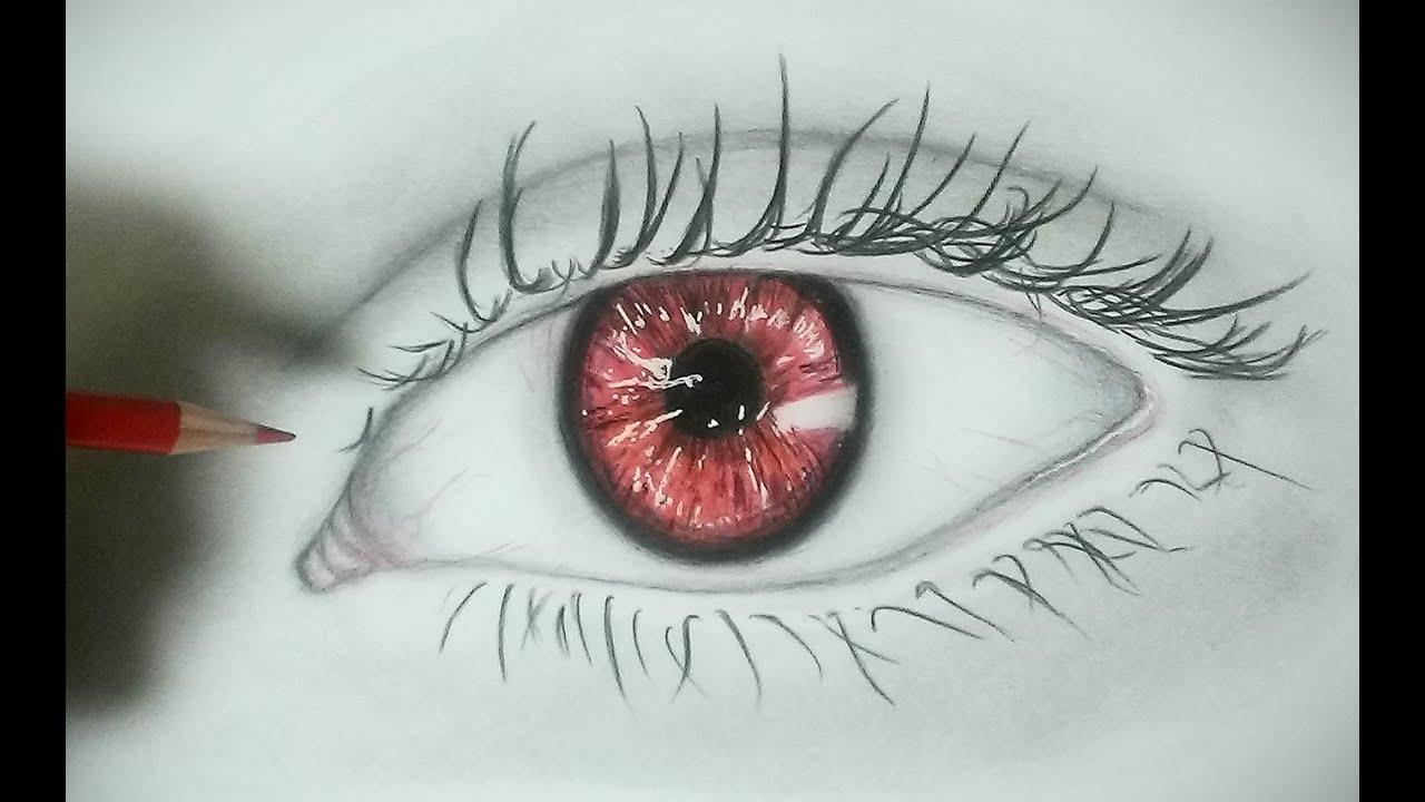 鉛筆画 目の描き方 怖い目編 色鉛筆画 - youtube