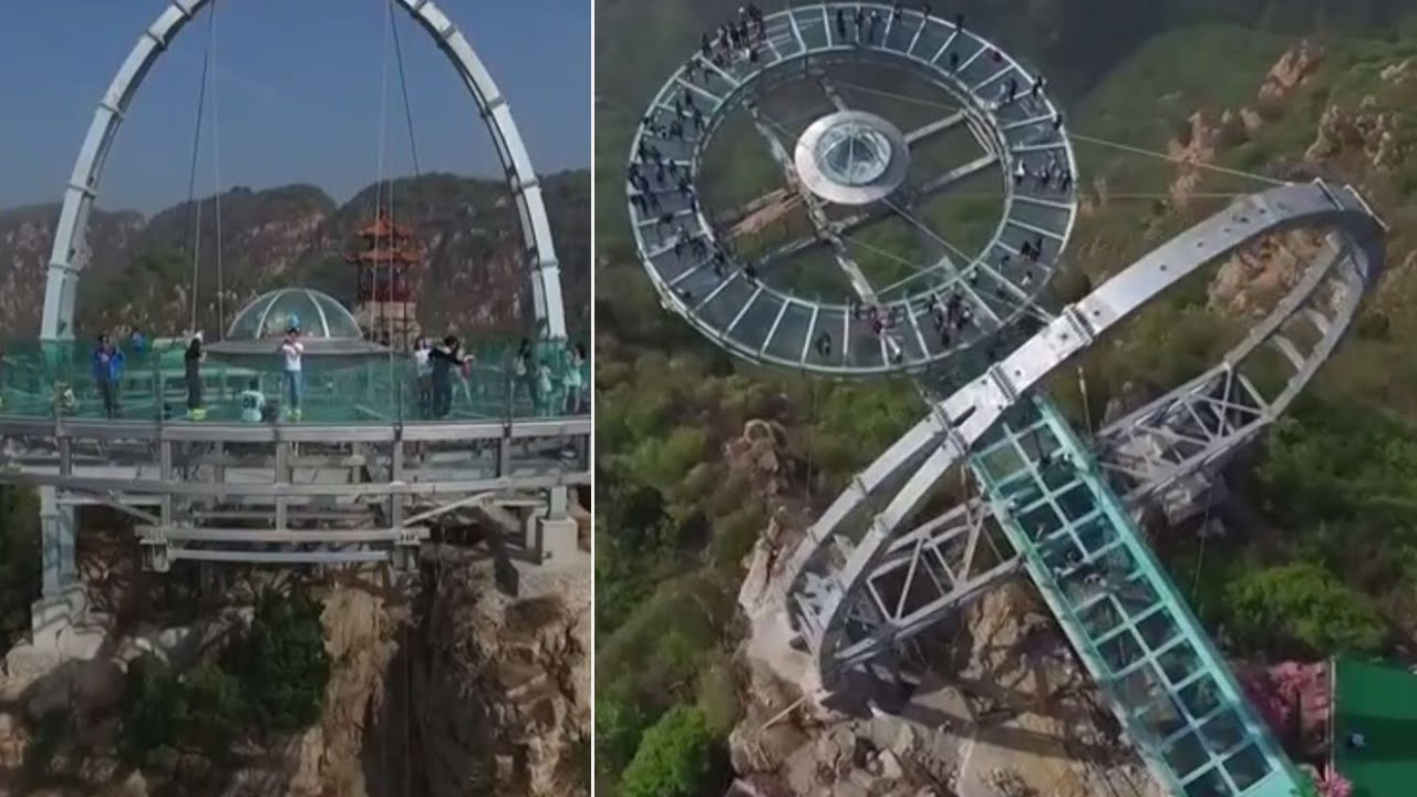 World's biggest glass-bottom platform opens in China - YouTube