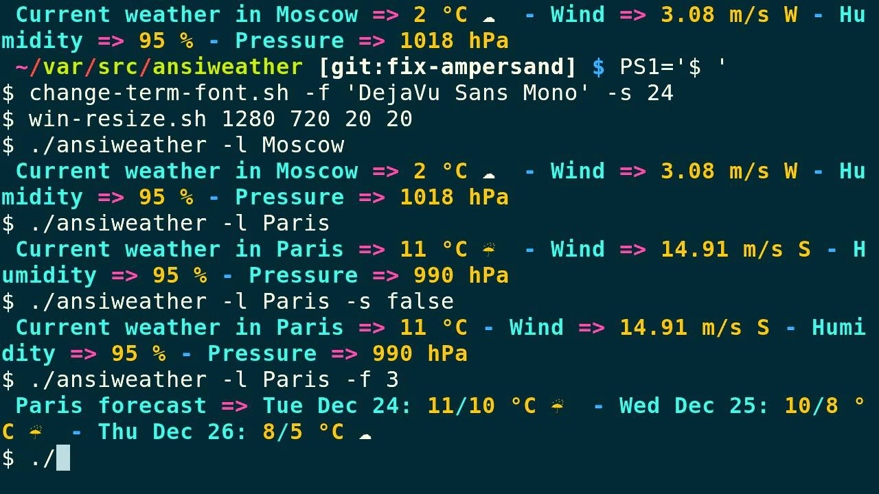 Ansiweather one liner weather and forecast in terminal with ansi ansiweather one liner weather and forecast in terminal with ansi colors and unicode weather symbols nvjuhfo Images