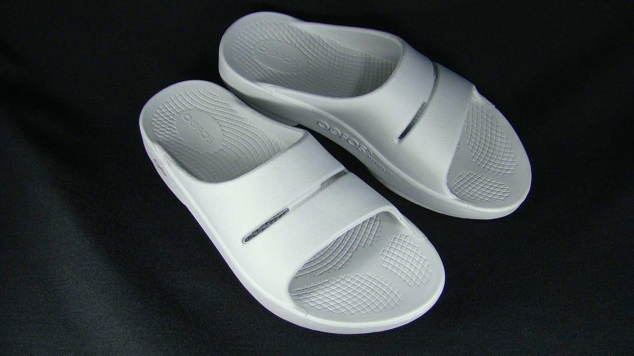 e15bbdca79cb OOFOS OOahh Steel Slide Sandals - YouTube
