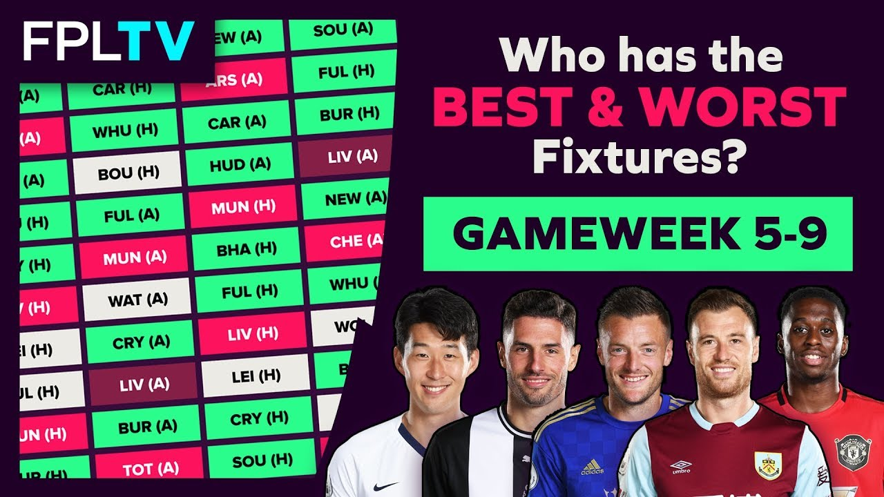 Who Has The Best Fixtures? | Gameweek 5-9 | FPL FIXTURE WATCH | Fantasy  Premier League