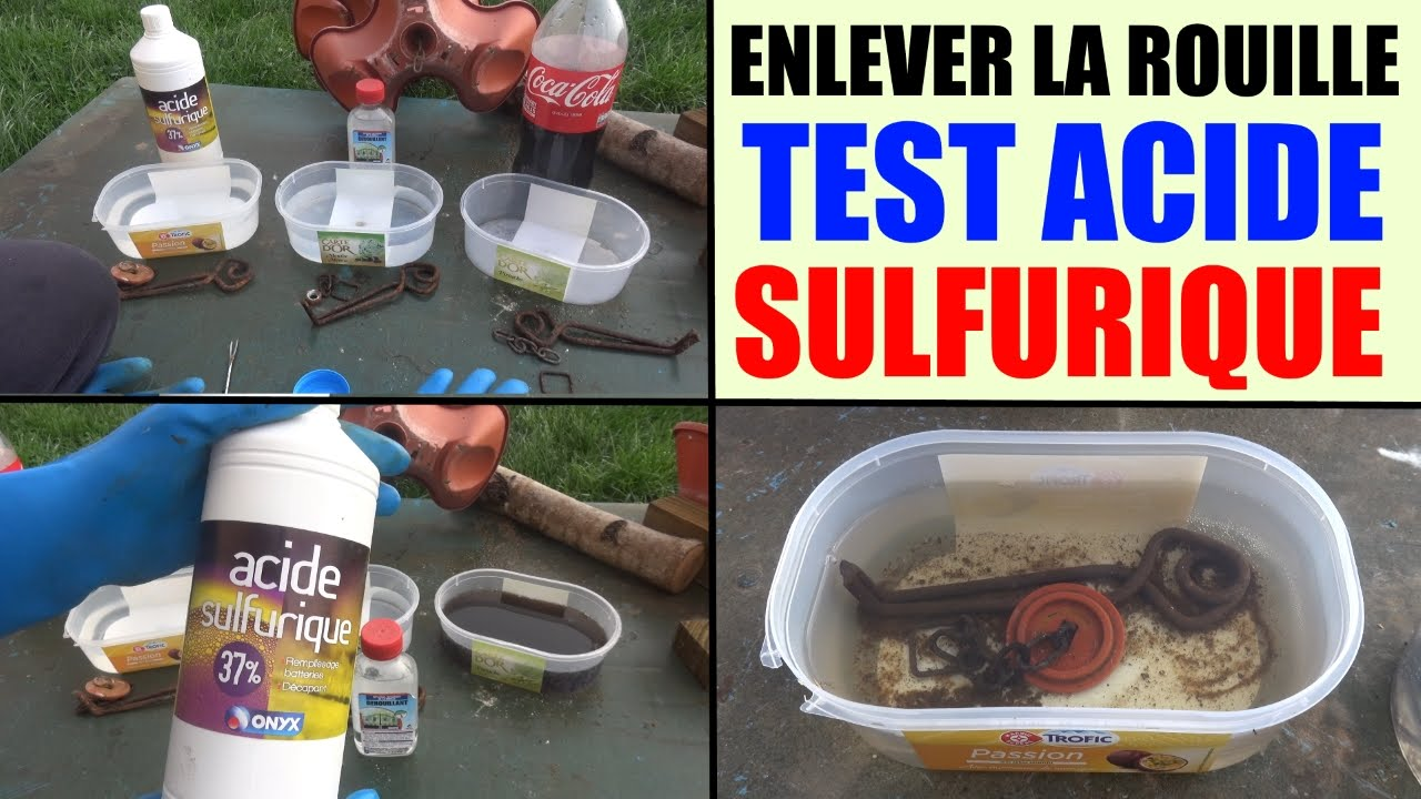 How To Stop Rust >> enlever la rouille facilement : acide sulfurique / how to remove rust dérouiller décaper - YouTube