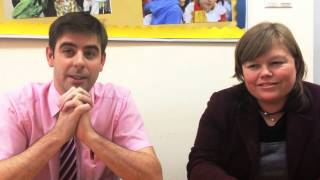 Andrew talks with two teachers about working at the International School of Moscow