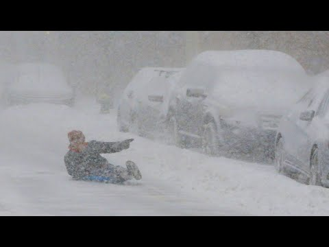 Snow storm hits Harbin, Heilongjiang, China. Sudden winter and severe snow. Natural Disasters