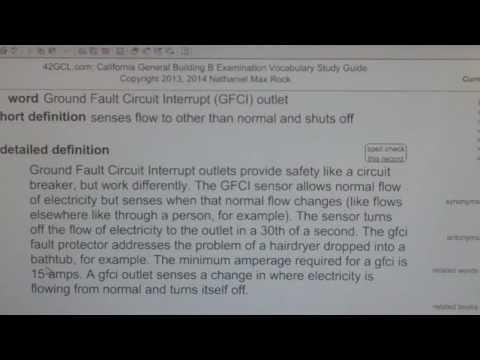 Ground Fault Circuit Interrupt (GFCI) outlet GCE42.com General Contractors B Building Exam Top Words