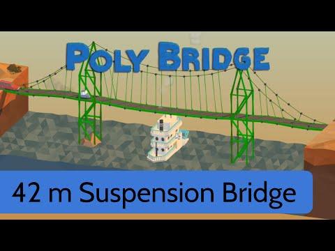 poly bridge level 16 42m suspension bridge youtube. Black Bedroom Furniture Sets. Home Design Ideas