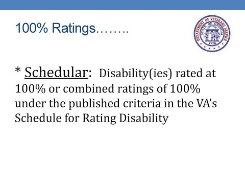100% VA Service Connected Schedular Rating