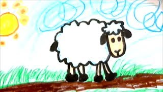 How to draw a cartoon sheep for kids