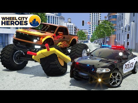 Monster Truck gets Ticket for Parking - Sergeant Lucas the Police Car - Wheel City Heroes Cartoon