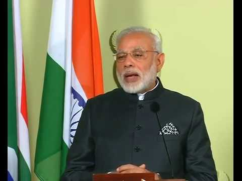 PM Shri Narendra Modi addresses joint press statements at Union Buildings, South Africa