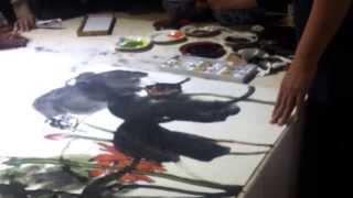 Henry Watching Artist Ye Lan's Demo of Lotus Painting in Nanjing, China