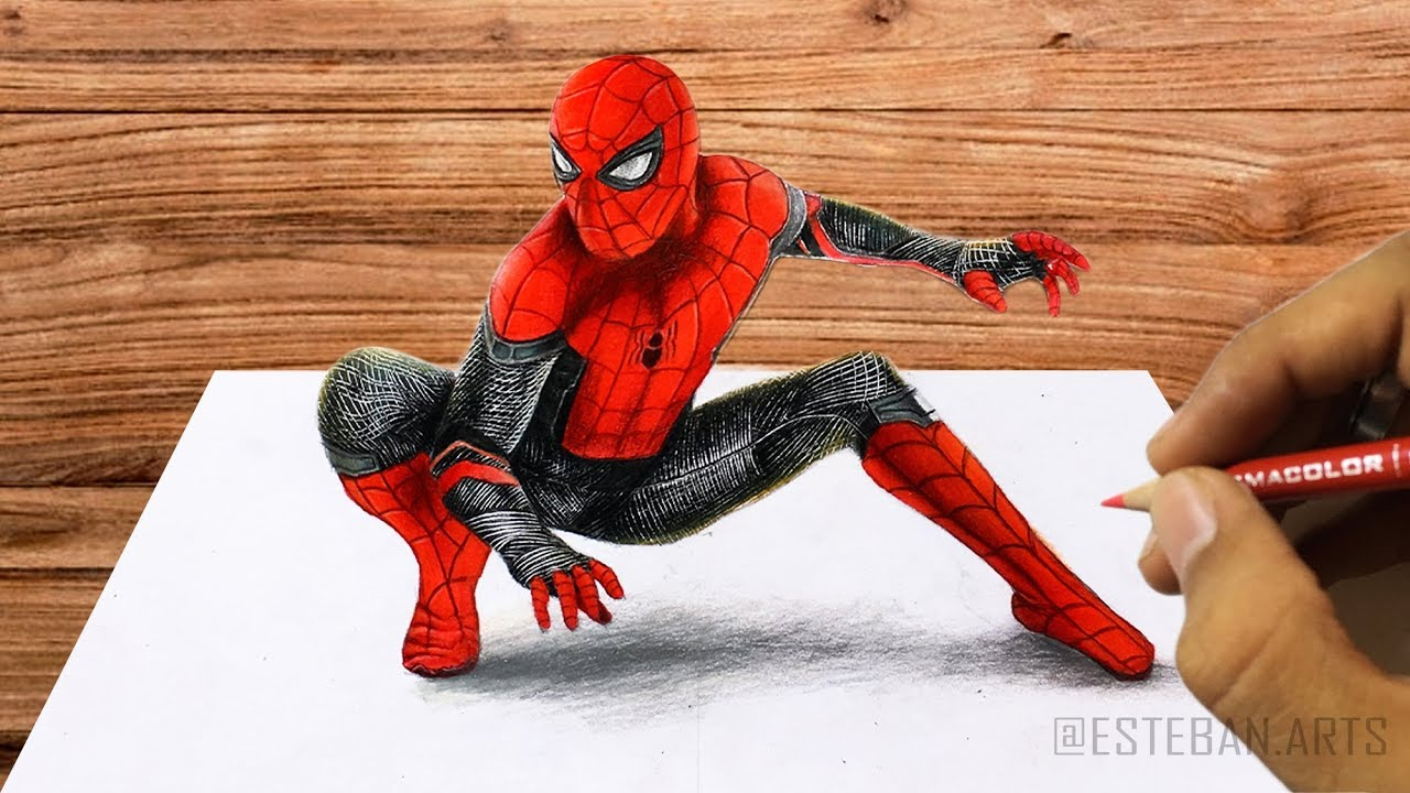 Dibujo En 3d Spider Man New Suit En Far From Home Speed Draw Esteban Arts