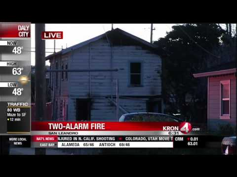 Two Alarm Fire Damages San Leandro Abandoned Home