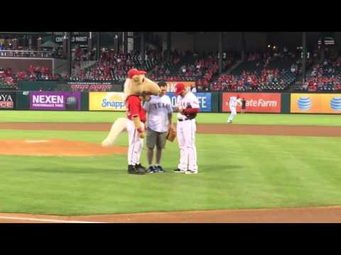 1st pitch Texas Rangers baseball globe life park