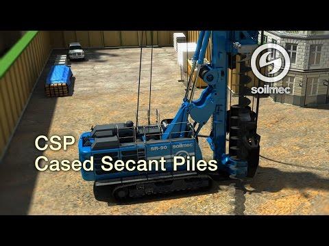 Cased Augered/Secant Piles technology animation Soilmec CAP/CSP