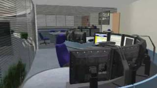 Flythrough of conceptual rail traffic control centre design
