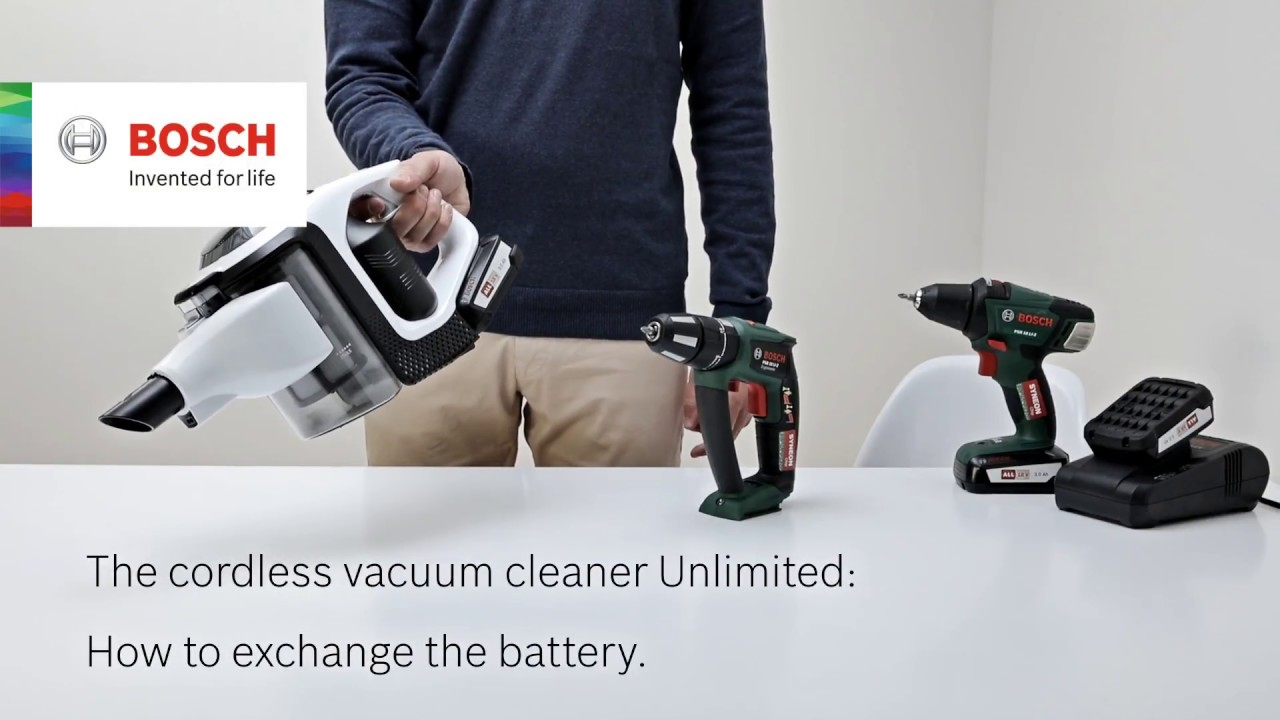 how do i change the battery of my bosch unlimited vacuum. Black Bedroom Furniture Sets. Home Design Ideas