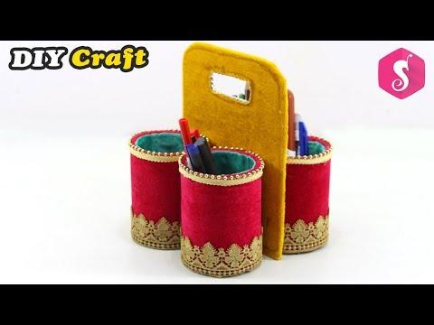 Cardboard TUBES Organizer craft idea | Easy DIY Craft | Reuse Cardboard Roll