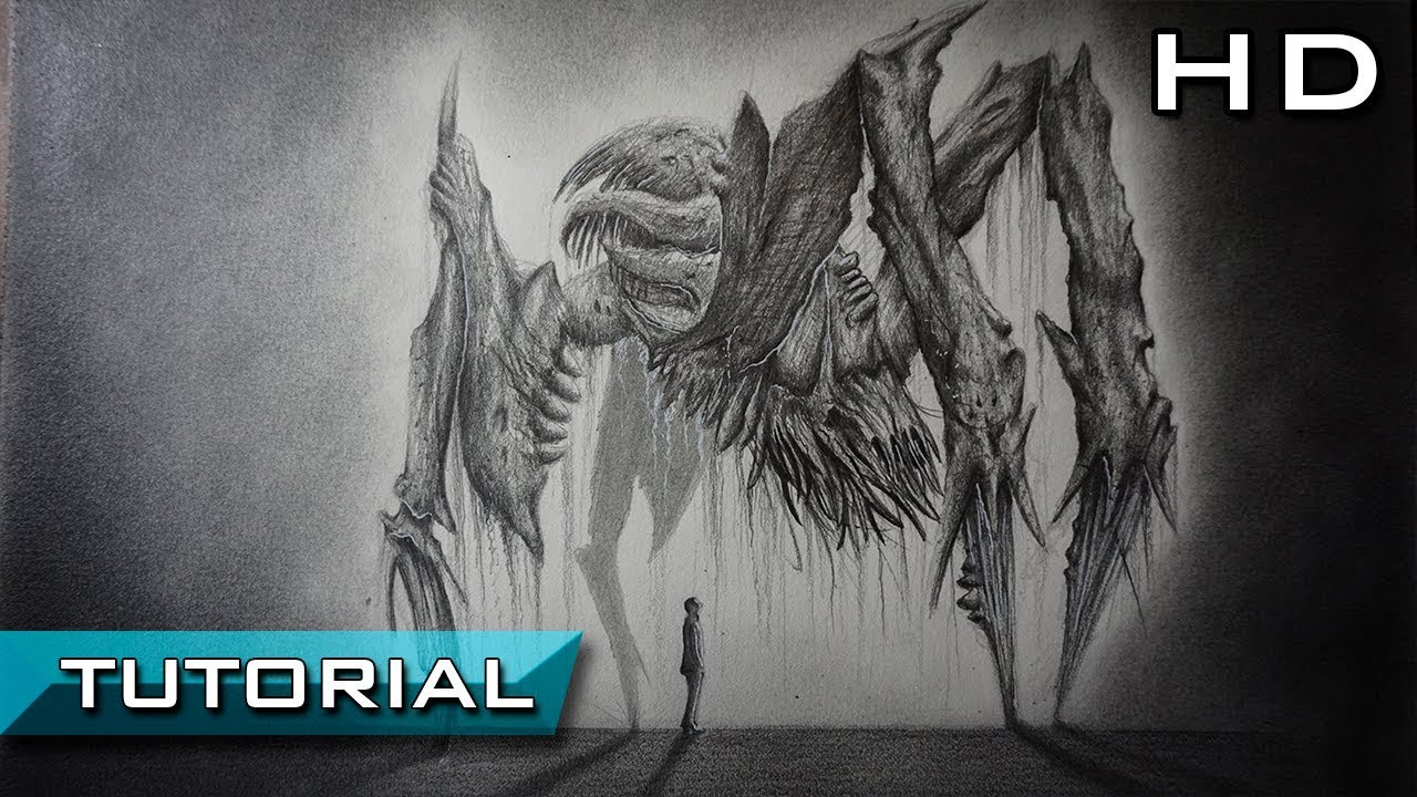 How To Draw A Realistic Monster From Dead Space 2 With Pencil Step By Step Tutorial Youtube