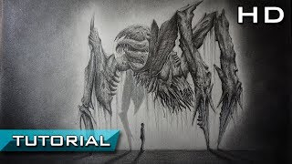 How to Draw a Realistic Monster from Dead Space 2 with Pencil Step by Step - Tutorial