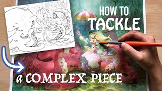 How to Tackle a Complex Painting!💪😤Watercolour Time-lapse ✨