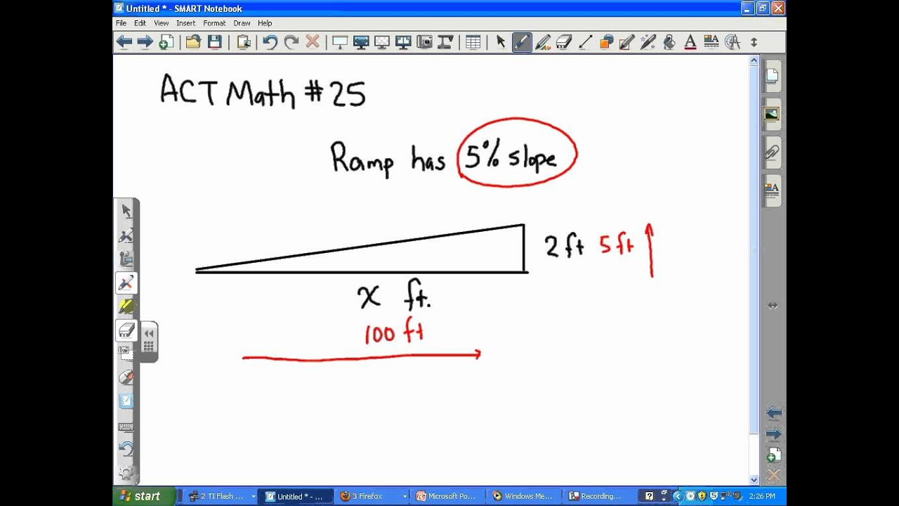 Act Math Slope Ramp Problem Youtube