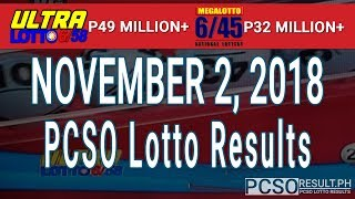 PCSO Lotto Results Today November 2, 2018 (6/58, 6/45, 4D, Swertres, STL & EZ2)