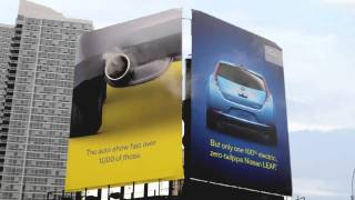 New York Auto Show Billboard - Javit Center - Nissan Leaf - Smoke Board