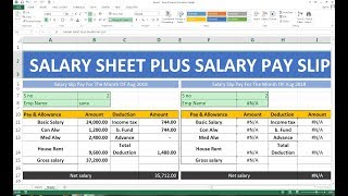 #218 How To Make Salary Sheet  Salary Payslip In Excel Hindi
