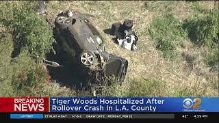 Tiger Woods Hospitalized After Rollover Crash In Los Angeles County