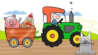 The Tractor Drawing 2 - Learning colors on Vehicles | Videos for kids and babies - Kolorowy traktor