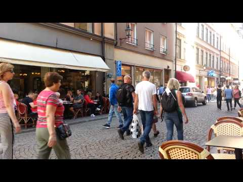 Tourists on Stora Nygatan in Stockholm