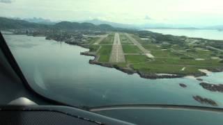 Wideroe Dash 8 cockpit view 2 landings, Bodø Airport Norway