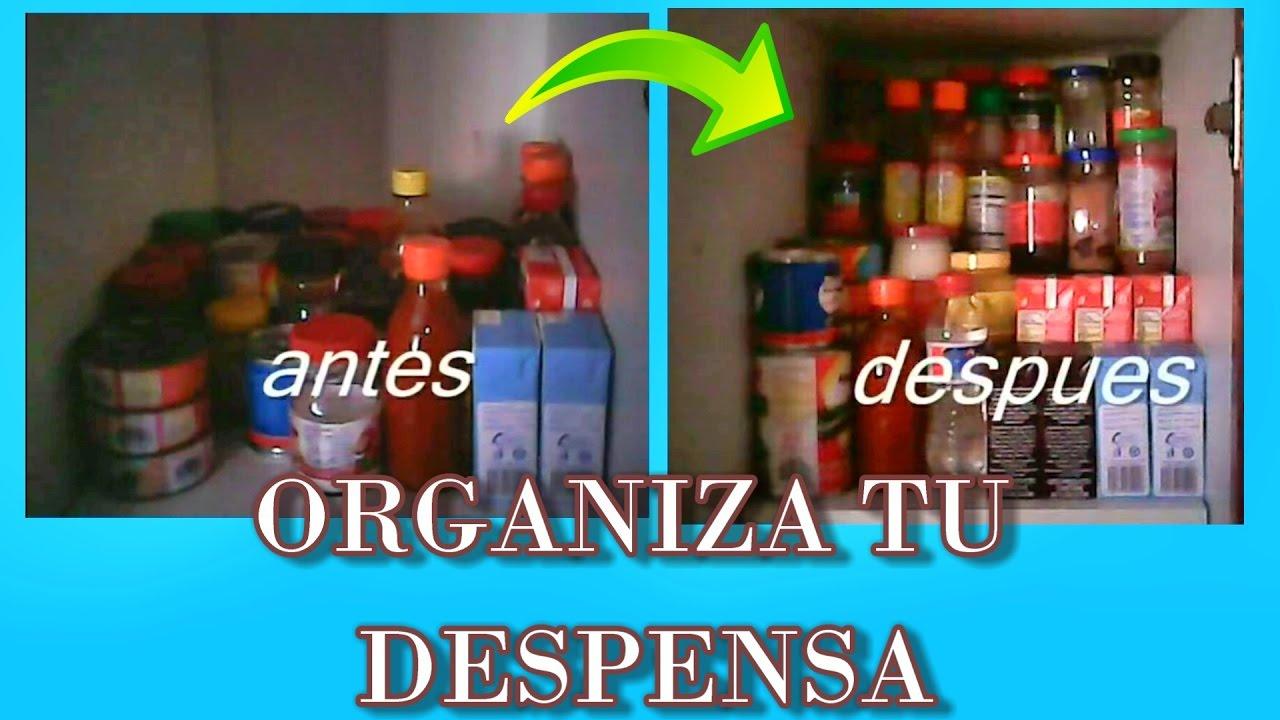 Como hacer un organizador para la despensa de tu cocina - Ideas para organizar armarios ...