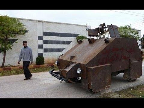 Sham II Free Syrian Syria army Rebels home-made wheeled ...